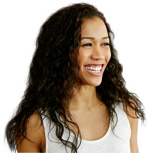 Woman in white tank top with long dark hair smiling