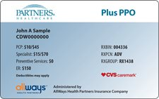 Partners HealthCare employees plan ID card